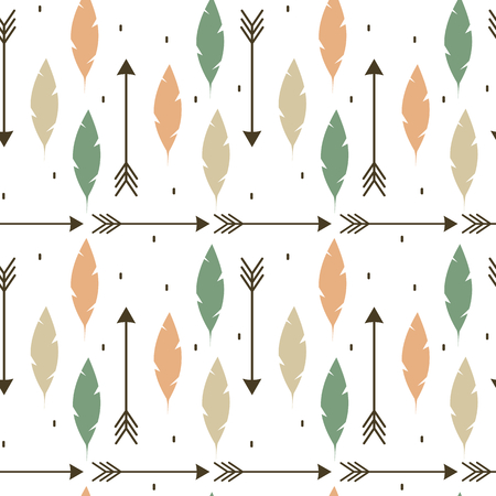 cute colorful feathers and arrows ethnic tribal seamless vector pattern background illustration