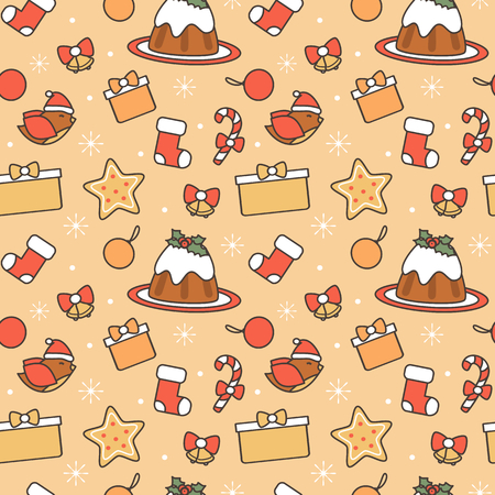 cute cartoon christmas elements seamless vector pattern background illustration Illustration