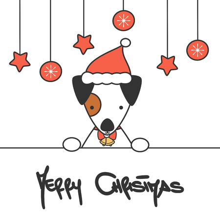 süße handgezeichnete beschriftung frohe weihnachten vektorkarte mit karikaturbabyhund ?? mit weihnachtsmütze