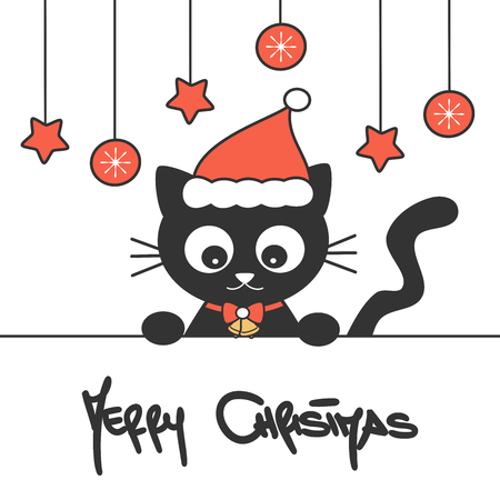 cute hand drawn lettering merry christmas vector card with cartoon baby black cat with santa hat