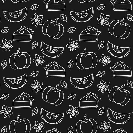 pumpkin pie slice black and white seamless vector pattern background illustration