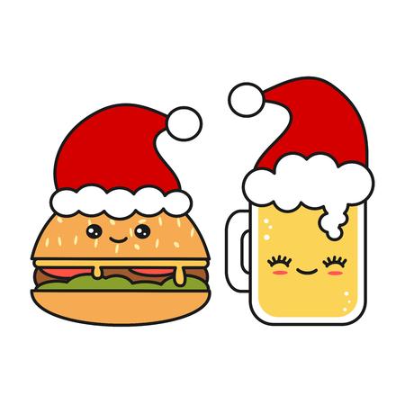cute and funny christmas vector Santa Claus hat
