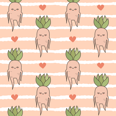 cute lovely cartoon mandrake roots illustration seamless vector pattern background Vektoros illusztráció