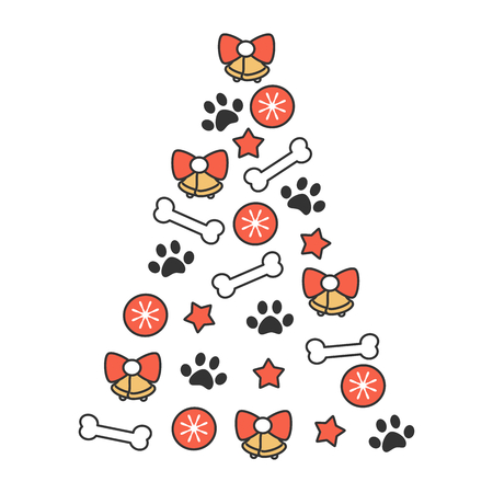 cute cartoon vector christmas tree made of bones, balls, bells, stars and paw prints