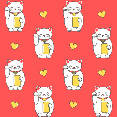 cute cartoon maneki neko lucky white cat seamless vector pattern background illustration