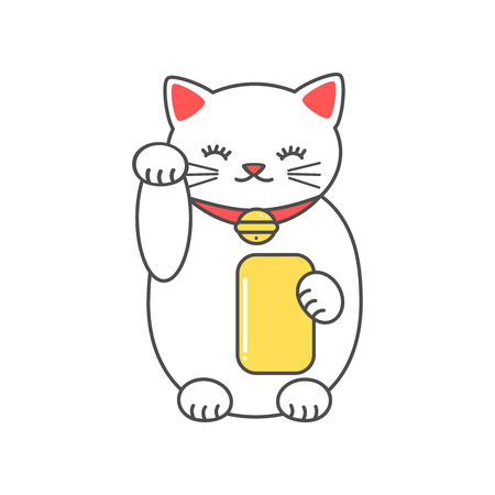 cute cartoon maneki neko lucky white cat vector illustration