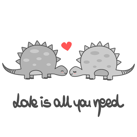 cute love is all you need romantic hand lettering vector card with cartoon dinosaurs couple
