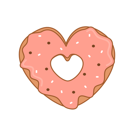 cute cartoon vector heart shaped donut with pink glaze valentine illustration