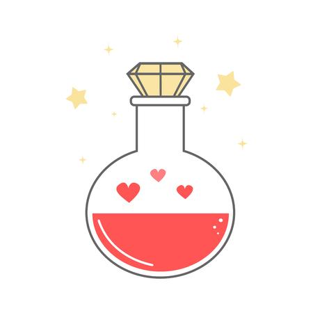 poción de amor de dibujos animados lindo aislado sobre fondo blanco ilustración vectorial de San Valentín