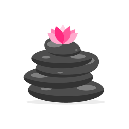 zen balancing stones with pink lotus flower isolated on white background Иллюстрация