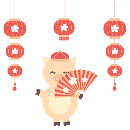 Cute cartoon vector Chinese New Year of the pig with character and Chinese lanterns