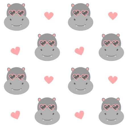cute cartoon hippo with sunglasses seamless vector pattern background illustration