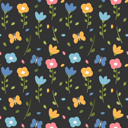 cute colorful spring seamless vector pattern background with flowers, leaves and butterflies