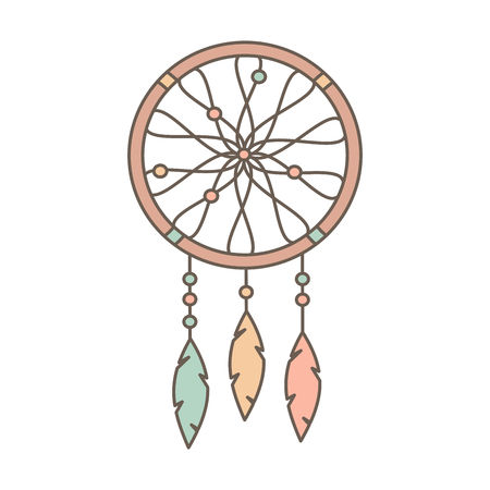 cute cartoon flat vector native american indian dream catcher isolated on white background