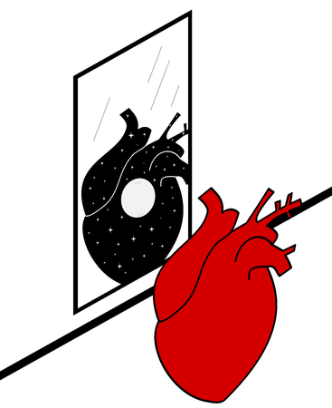 human heart looking in the mirror concept vector illustration Illustration