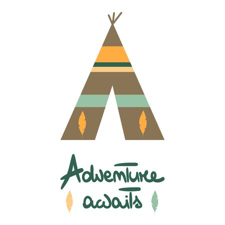 cute vector hand drawn lettering text adventure awaits card with teepee and feathers
