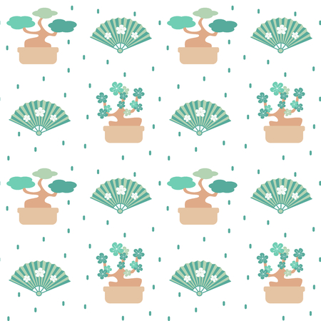oriental seamless vector pattern background with bonsai trees, confetti and fans Stock Illustratie
