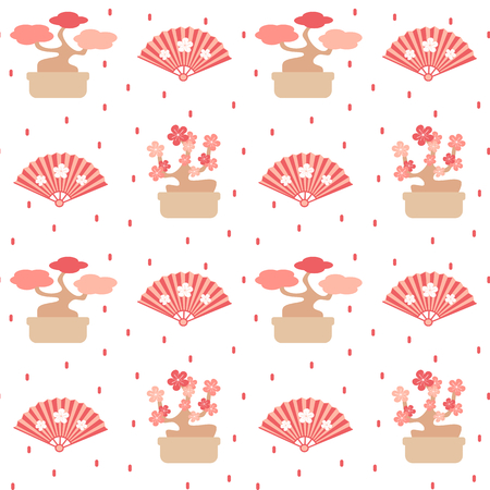 cute lovely seamless vector pattern background with bonsai trees and fans