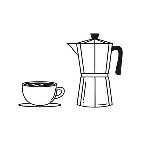 black and white coffee pot with cup vector illustration
