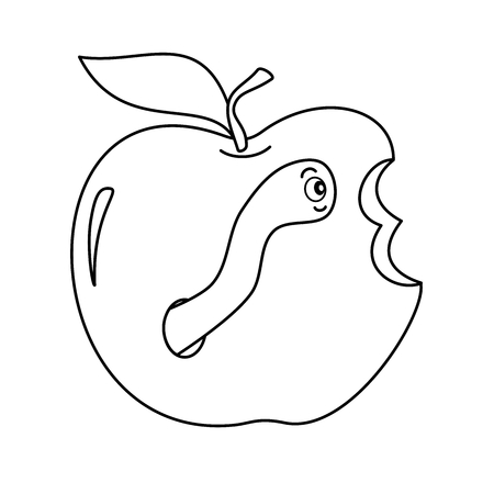 worm in apple cute funny black and white cartoon vector illustration for coloring art