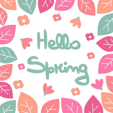 cute hand drawn lettering hello spring vector card with flowers and leaves