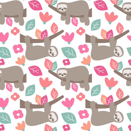 cute cartoon sloth seamless vector pattern background with colorful leaves and flowers Ilustrace