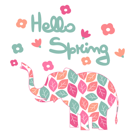 cute hand drawn lettering hello spring vector card with flowers and leaves Illustration