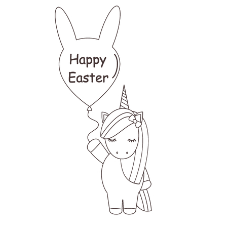 cute cartoon black and white vector cartoon unicorn with happy easter text illustration for coloring art