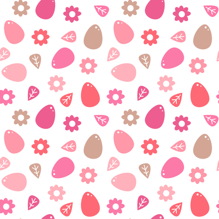 cute colorful easter seamless vector pattern background illustration with eggs and flowers