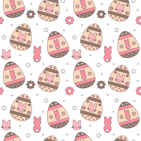 cute colorful easter seamless vector pattern background illustration with eggs, flowers and bunnies