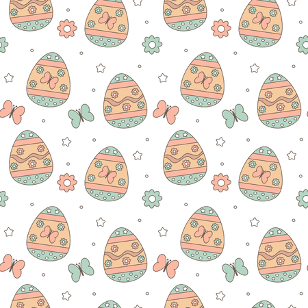 cute colorful easter seamless vector pattern background illustration with eggs, flowers and butterflies Stock Illustratie