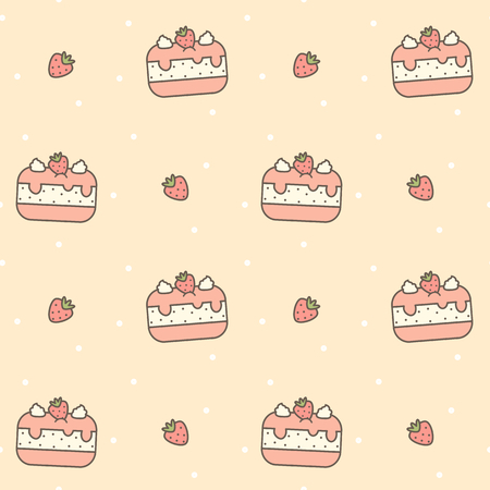 cute cartoon seamless vector pattern background illustration with strawberry cake