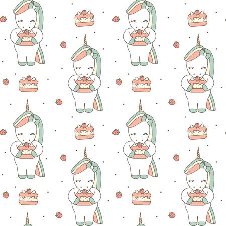 cute unicorn cartoon with strawberry cake seamless vector pattern background illustration