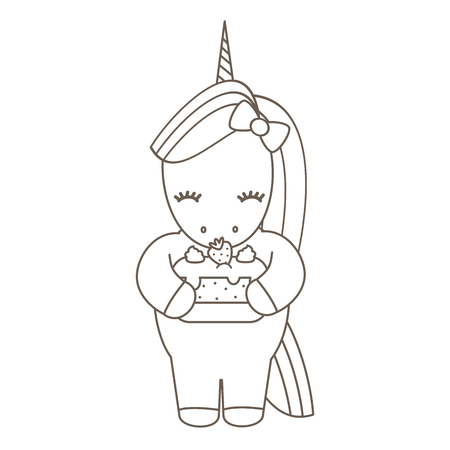 cute cartoon vector unicorn with strawberry cake lovely illustration for coloring art Stock Illustratie