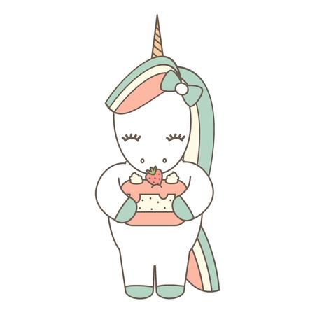 cute cartoon vector unicorn with strawberry cake lovely illustration isolated on white background