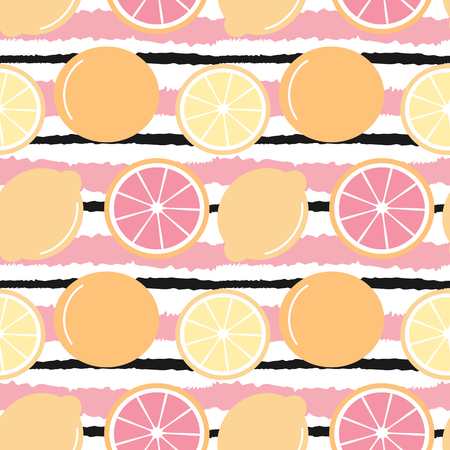 cute striped seamless vector pattern background illustration with lemons and oranges