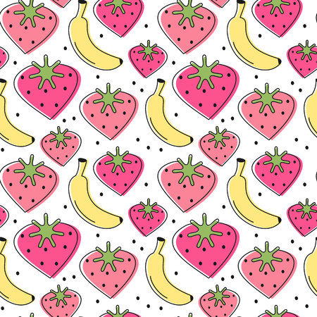 cute lovely heart strawberries and banana seamless vector pattern background illustration