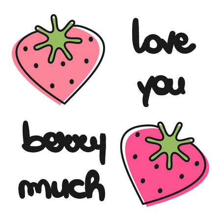 cute vector hand drawn lettering love you berry much text card with heart strawberries