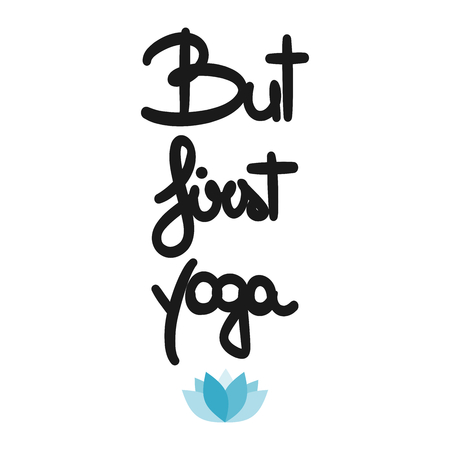 cute vector hand drawn but first yoga motivational card with blue lotus