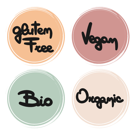 cute hand drawn vector food badges collection gluten free, vegan, bio and organic labels