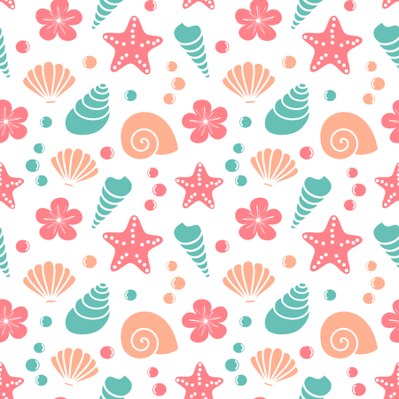 cute colorful exotic seamless vector pattern background illustration with seashells, starfishes, hibiscus flowers and bubbles Stock Illustratie