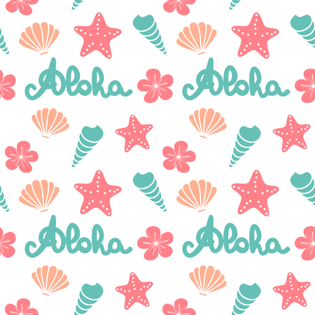 cute summer seamless vector pattern background illustration with hand drawn lettering aloha word, seashells, starfishes and flowers
