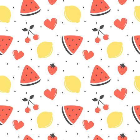 seamless pattern with lemons, cherries, strawberries and watermelon slice
