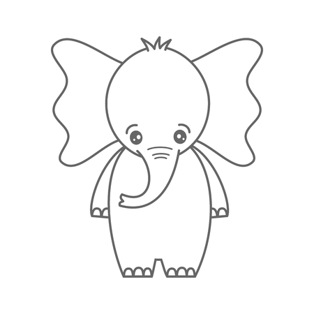 cute cartoon little black and white baby elephant vector illustration for coloring art