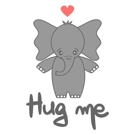 cute vector hand drawn lettering hug me card with cartoon lovely baby elephant