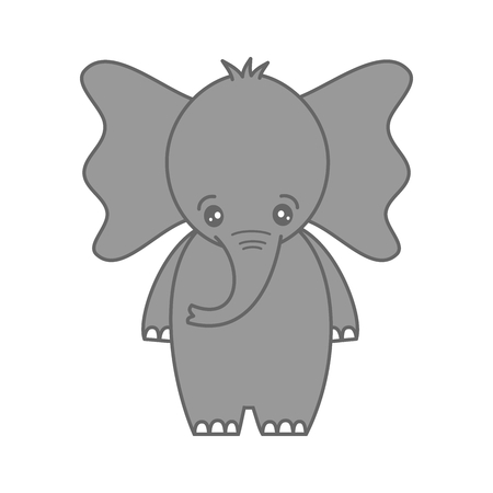 cute cartoon baby elephant vector illustration isolated on white background