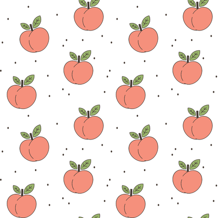 cute peaches seamless vector pattern background illustration