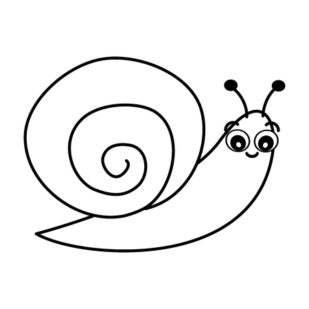 cute cartoon black and white snail vector illustration for coloring art