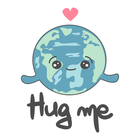 cute vector hand drawn lettering hug me card with cartoon planet earth concept illustration