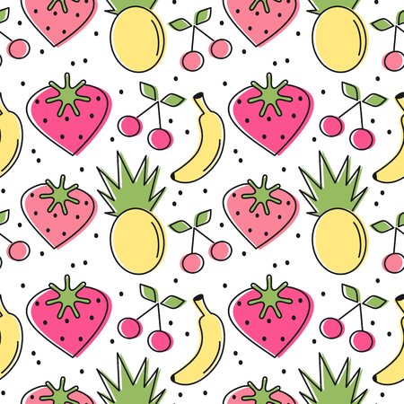 cute lovely heart strawberries, cherries, pineapples and banana seamless vector pattern background illustration